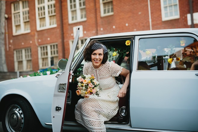 Louisa & Rob. Great entrance, Collingwood style. Pic: Circularink